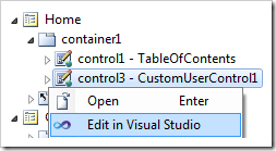 Context menu option Edit in Visual Studio for a control in Project Explorer.