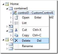 Delete option on control3 context menu.