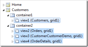 Four views in two containers on the Customers page.