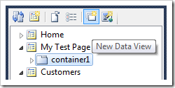 New Data View toolbar option for container.