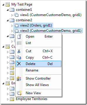 Delete context menu action for two selected data views.