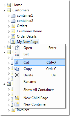 Cut context menu option on My New Page node.