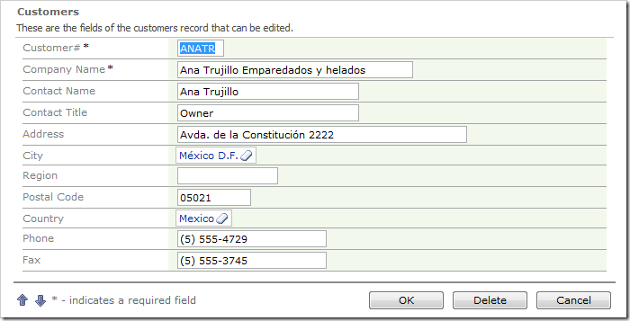 City and Country fields on Customers edit form are rendered as lookups.