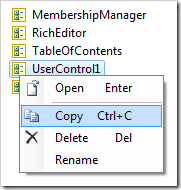 Copy context menu option for UserControl1.