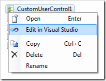 Edit in Visual Studio context menu option for user controls in the Project Explorer.