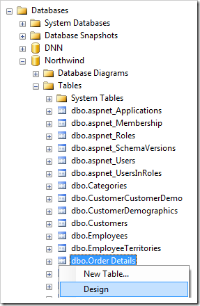 Design context menu option for Order Details table of the Northwind database.