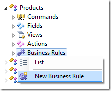 New Business Rule context menu option for Products controller.