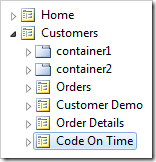 Code On Time page node placed at the end of Customers.