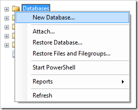 Create New Database in SQL Server Management Studio.