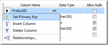 assign primary key sql server