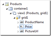 Price data field of grid1 on the Products page.