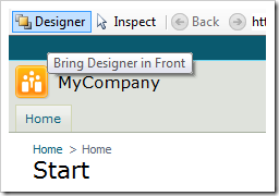 Bring Designer in Front button will bring the Designer window to focus.