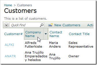In Inspect Mode, click on the Company Name header of the Customers grid view.