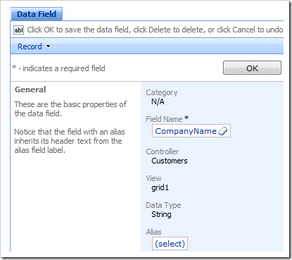 Company Name data field selected in the Project Browser.