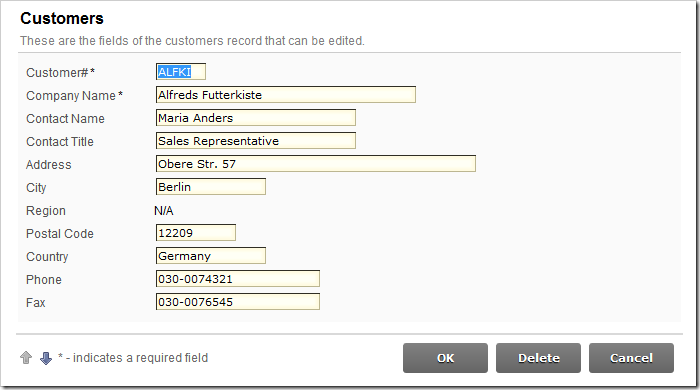 Customer not from USA does not have an editable Region data field.