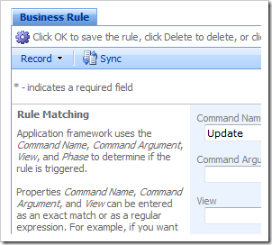 Business rule edit form in the Project Browser.