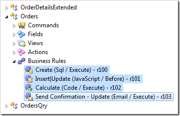 Business rules that belong to Orders controller in the Project Explorer.