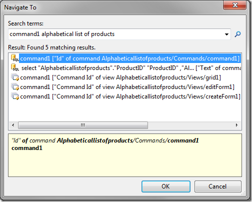 A command located in the project configuration navigator.