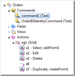Command1 node selected in the Project Explorer.