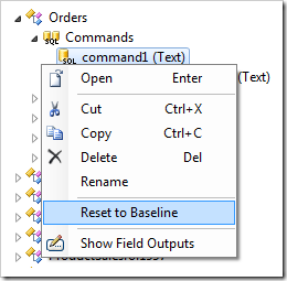 Context menu option Reset to Baseline in the Project Explorer.