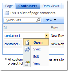 Open context menu option for 'container1' in list of containers.