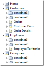 Container1 synched in Project Explorer.