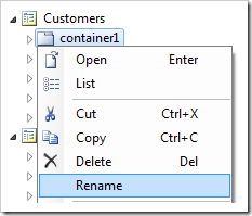 Rename context menu option for container1 in the Project Explorer.