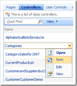 Sync context menu option in the list of controllers.