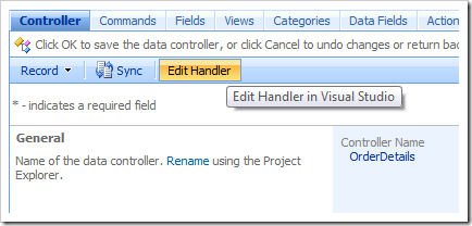 Edit Handler button in the Project Browser.