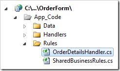 Business rules handler in the Rules folder in Visual Studio.