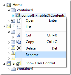 Rename context menu option in the Project Explorer.