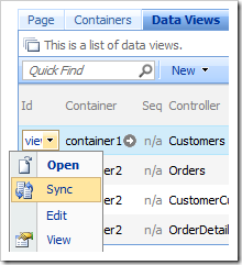 Sync context menu option in the list of data views.