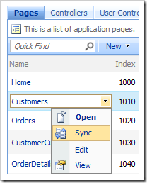 'Sync' context menu option for pages in the Pages grid view.