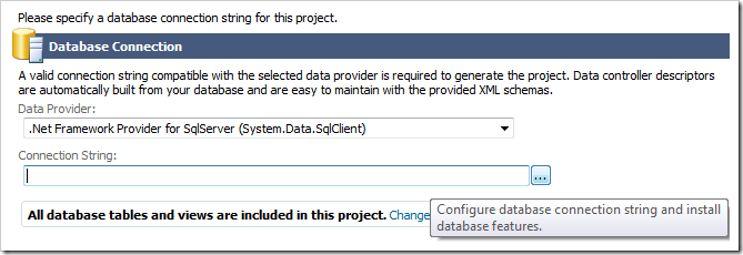 Selecting a Data Provider and activating the Connection String Configurator.