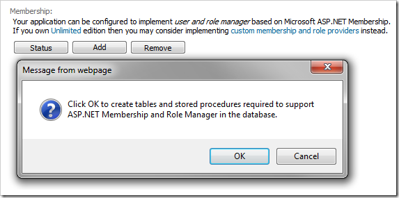 Adding ASP.NET Membership to the database.