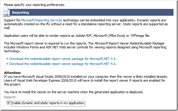 Enable reporting by checking the box on the Reporting Page of the Project Wizard.