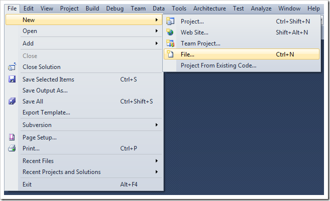 Create new file in Visual Studio.