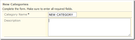 Text in the Category Name field has been converted to uppercase.