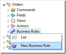 New Business Rule context menu option for Business Rules node in the Project Explorer.