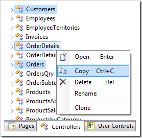 Copy context menu option for three selected controllers in the Project Explorer.