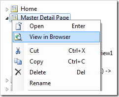View in Browser context menu option for Master Detail Page in the Project Explorer.