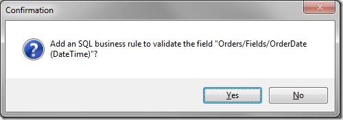 Confirmation window to add an SQL business rule.