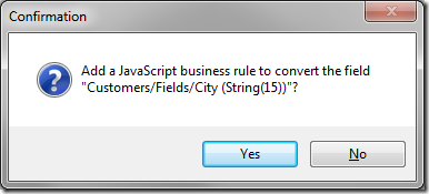 Confirm the creation of a JavaScript converter.