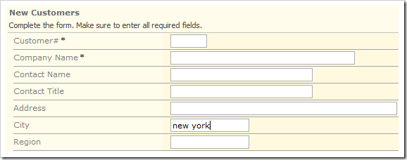 Lowercase text entered into City field on New Customers form.