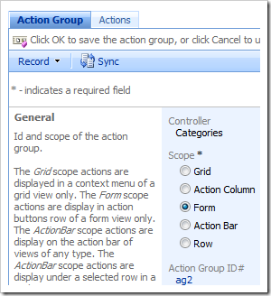 Action group detail form in the Project Browser.