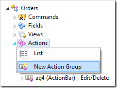 New Action Group context menu option.