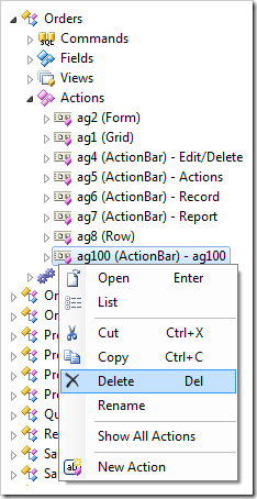 Action group context menu option Delete in the Project Explorer.