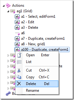 Delete context menu option for an action node.