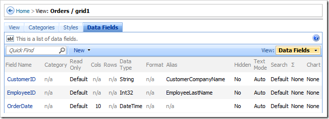 Data Fields tab on View properties page.