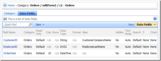Data Fields tab on category properties page.